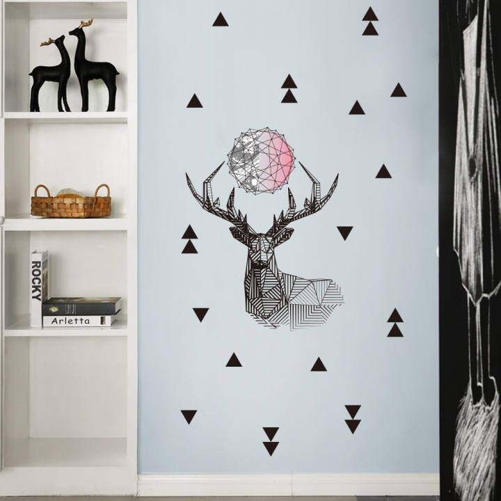 Deer Solid Vinyl Wall Stickers Bedroom Decor Home Decoration Accessories For Living Room Decoration Removable Glue Wall Decals Lazada