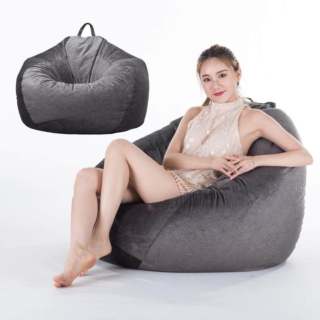Bolehdeals 2 Dark Grey Chair Sofa Cover Velvet Lazy Beanbag Cover No Filler For Bedroom By Bolehdeals.