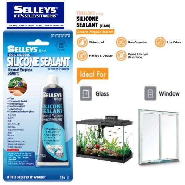 Selleys Silicone Sealant 75g Clear Silicon General Purpose Glass Aquarium Fish Tank Wood Door Window Seal Silikon