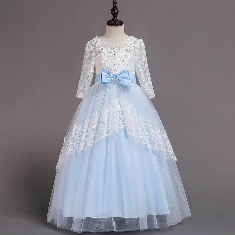 32a80236a451 Children Christening Girl Dress Kids Bow Tie Lace Long Dresses for Girls  Princess Tutu Dress for