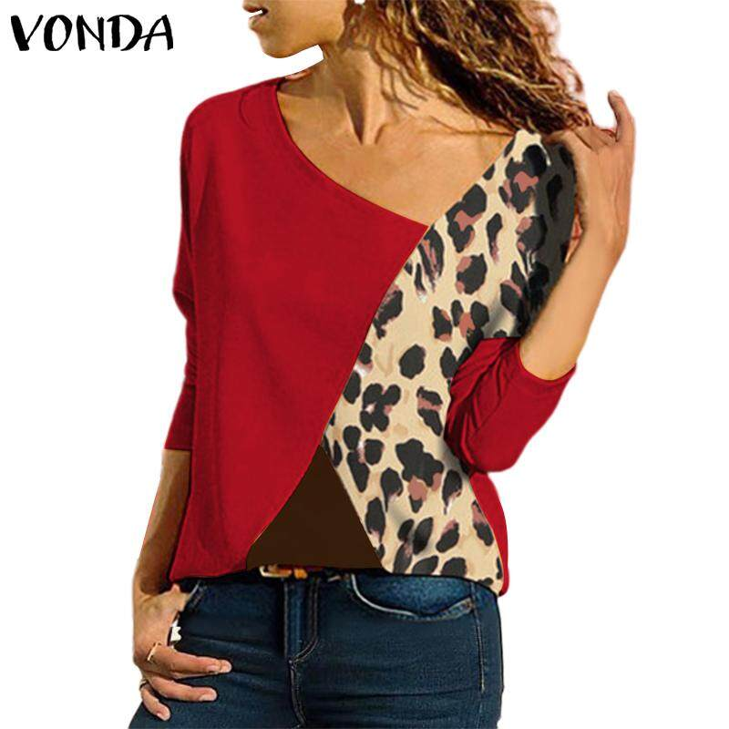 437fb24f58ba VONDA Women Leopard Printed Casual Loose T Shirt Long Sleeve Blouse Top  Pullover Plus