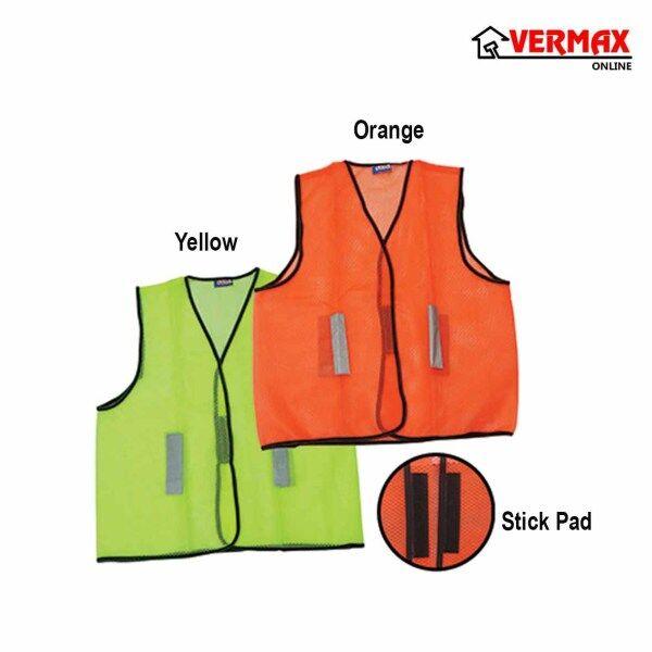 Safety Vest With Mesh Fabric Traffic Yellow Orange Ready Stock / Baju Keselamatan Cahaya