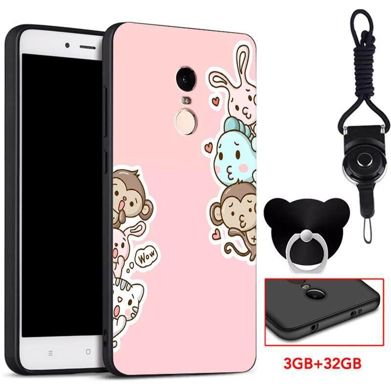 360°full Silikon Pelindung Casing Lembut Ponsel untuk Xiaomi Redmi Note 4X Snapdragon dengan Tali dan Ring Fashion Kartun Yang Indah (Multicolor)