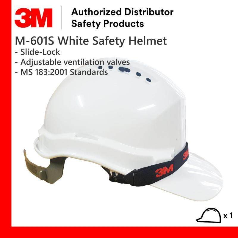 3M M-601S White Colour Slide-Lock Safety Helmet/ Hard Hat/ 6-Point Suspension/ Chin Strap included/ SIRIM Approved [1 piece]