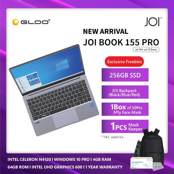 "JOI Book 155 Pro (N4120,4GB+64GB,14"" FHD,W10Pro) [Free 256GB SSD + JOI Backpack+ 1 Box Of Face Mask + 1 Pcs Mask Keeper - Valid From 11th - 26th Nov 2020] Malaysia"