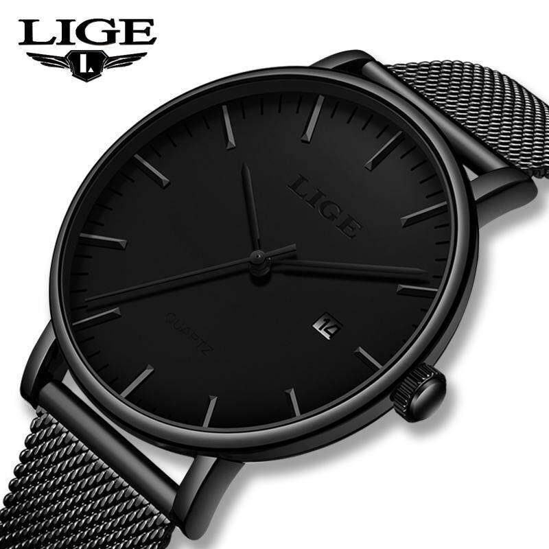 LIGE Men Watches Ultra thin Stainless Steel Mesh Fashion Casual Waterproof Analog Quartz Jam Tangan Lelaki Malaysia