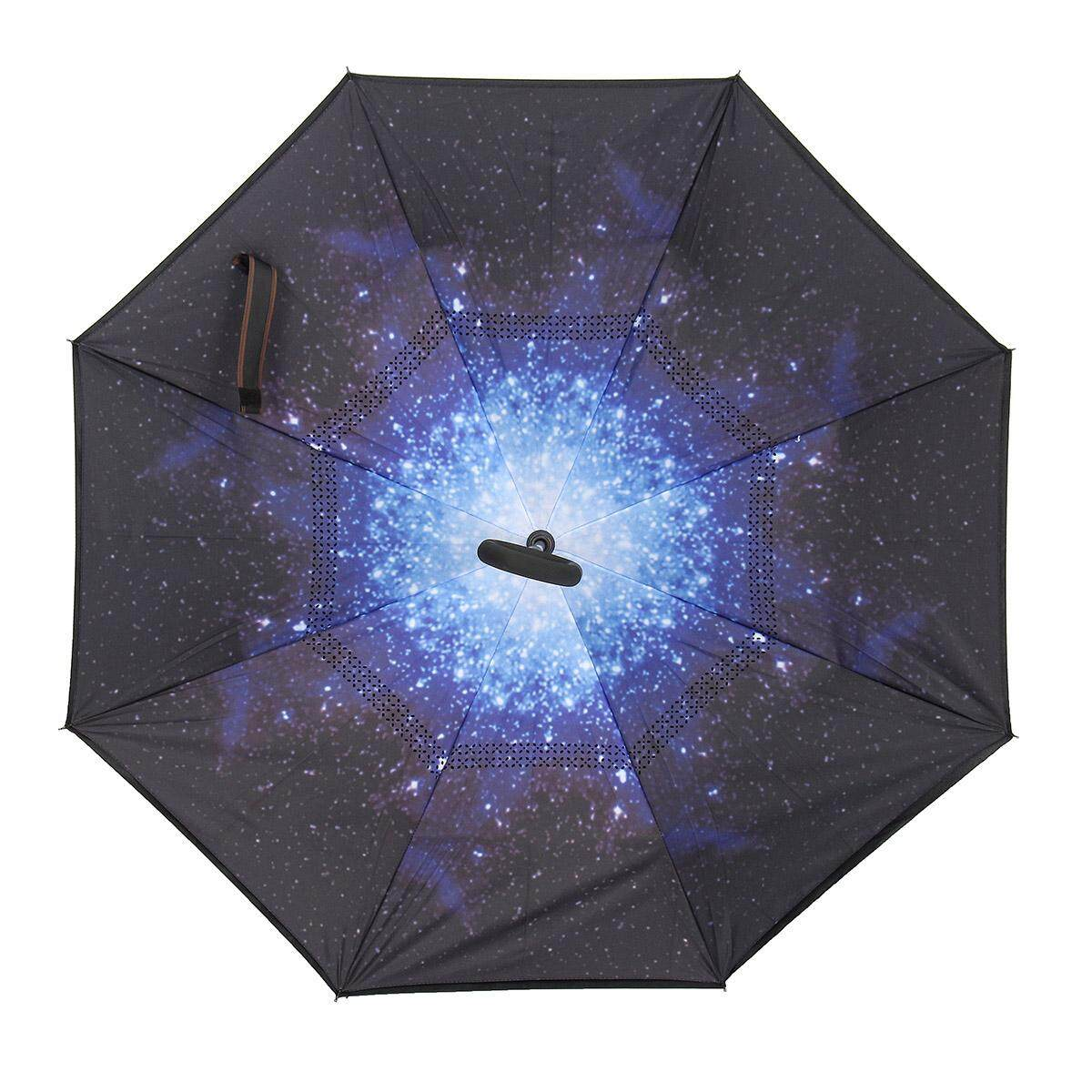 Double Layer Inverted Reversible Umbrella Windproof Stay Dry & C-Shaped Handle Snow/Star sky/Lily/Red rose