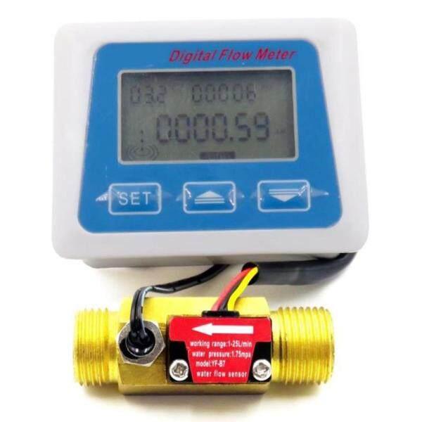 Digital Lcd Display Water Flow Sensor Meter Flowmeter Rotameter Temperature Time Record With G1/2 Flow Sensor