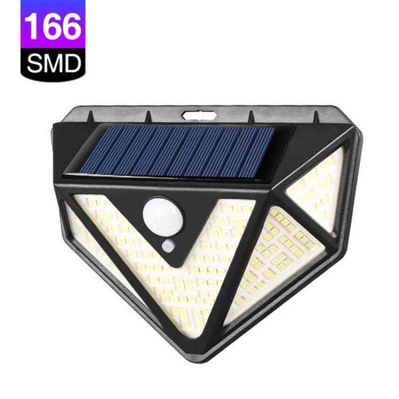 Đèn Năng Lượng Mặt Trời 166LED Đèn Cảm Biến Chuyển Động Đèn Tường An Ninh Cho Ngoài Trời Sân Hiên