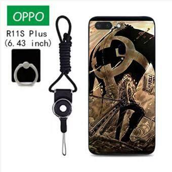 Untuk OPPO R11S Plus Case Telepon Lembut Silikon Pelindung Belakang Bergambar Casing Karet dengan Tali & Cincin 3in1 Q4 波妞