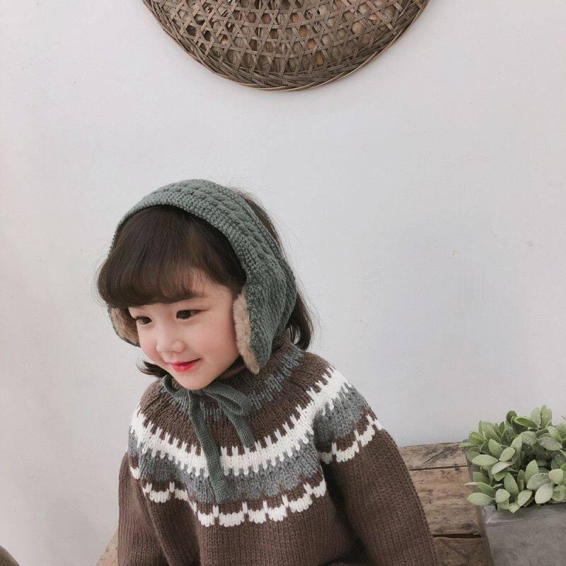 Vintage Ear Covers Ear Muffs Cute Winter Knitted Tie Earmuffs Dual Use Wool Headband