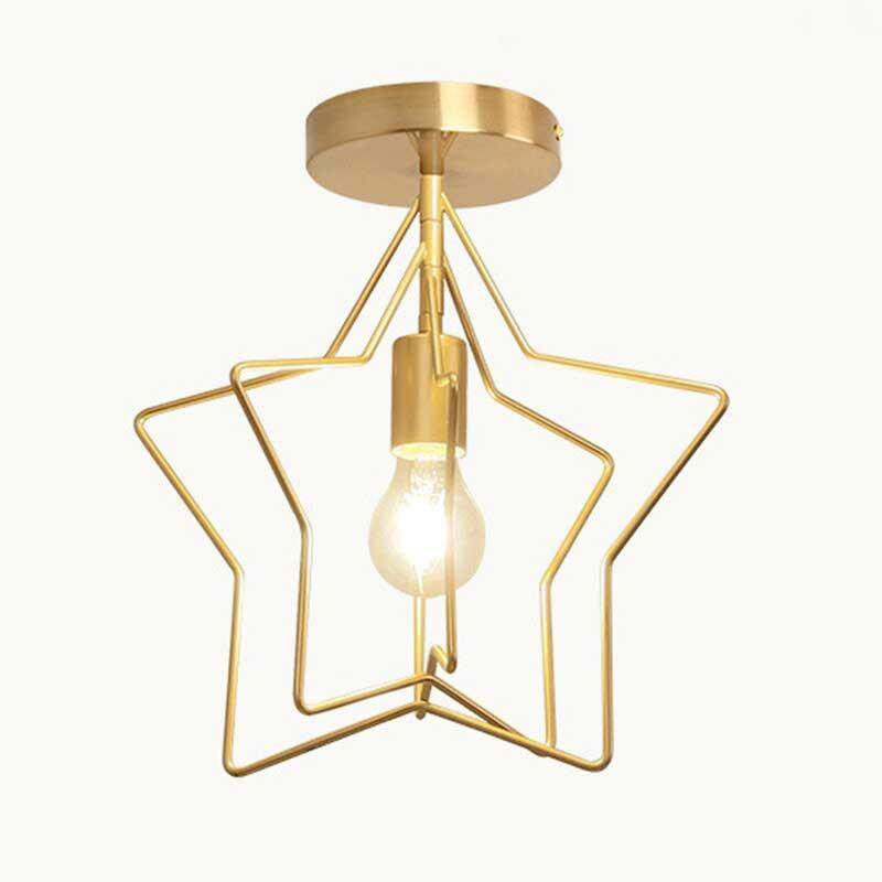Simple Five-point Ceiling Light Geometric Iron Pendant Lights Lamp for Bedroom Living Room