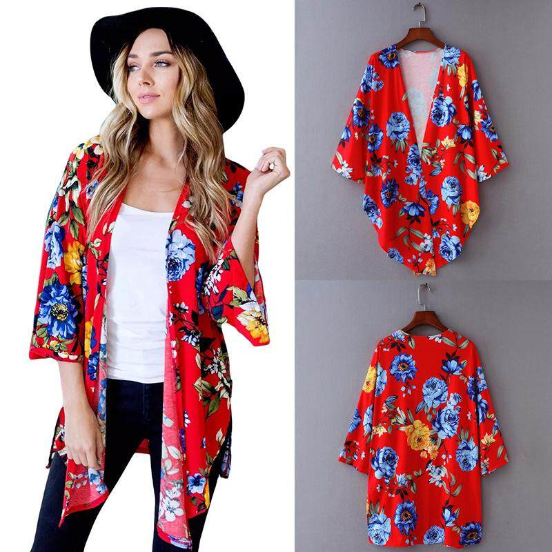 12b508529d Women Kimono Floral Print Open Front Bell Sleeve Splits High Low Irregular  Hemline Loose Casual Cardigan