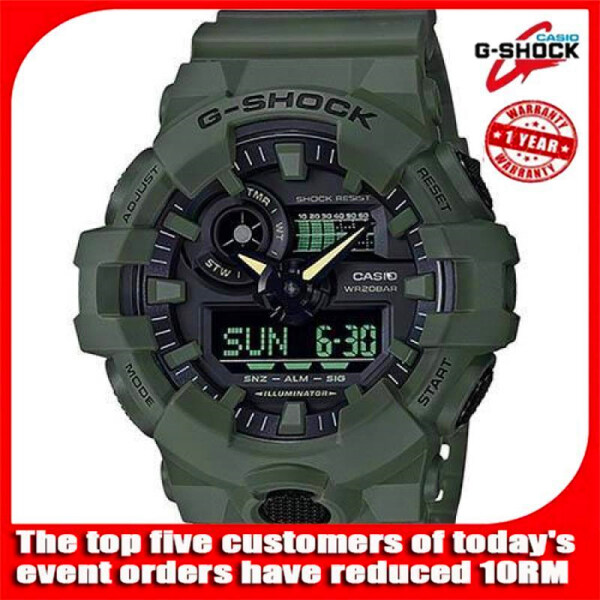 (Ready stock) Authentic Fashion G Shock Ga-700Uc-3A Military Style Mens Digital Watch Ga-700 Ga700 200M Water Resistant Shockproof and Waterproof World Time LED Auto Light Wist Sports Watches with 2 Year Warranty Malaysia