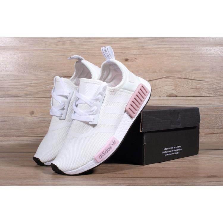 สอนใช้งาน  ระยอง ขายร้อน Stok siap Adidas Asal - usul Nmd_R1 Pelatih รองเท้าวิ่งสตรีรองเท้าผ้าใบ Merah Jambu