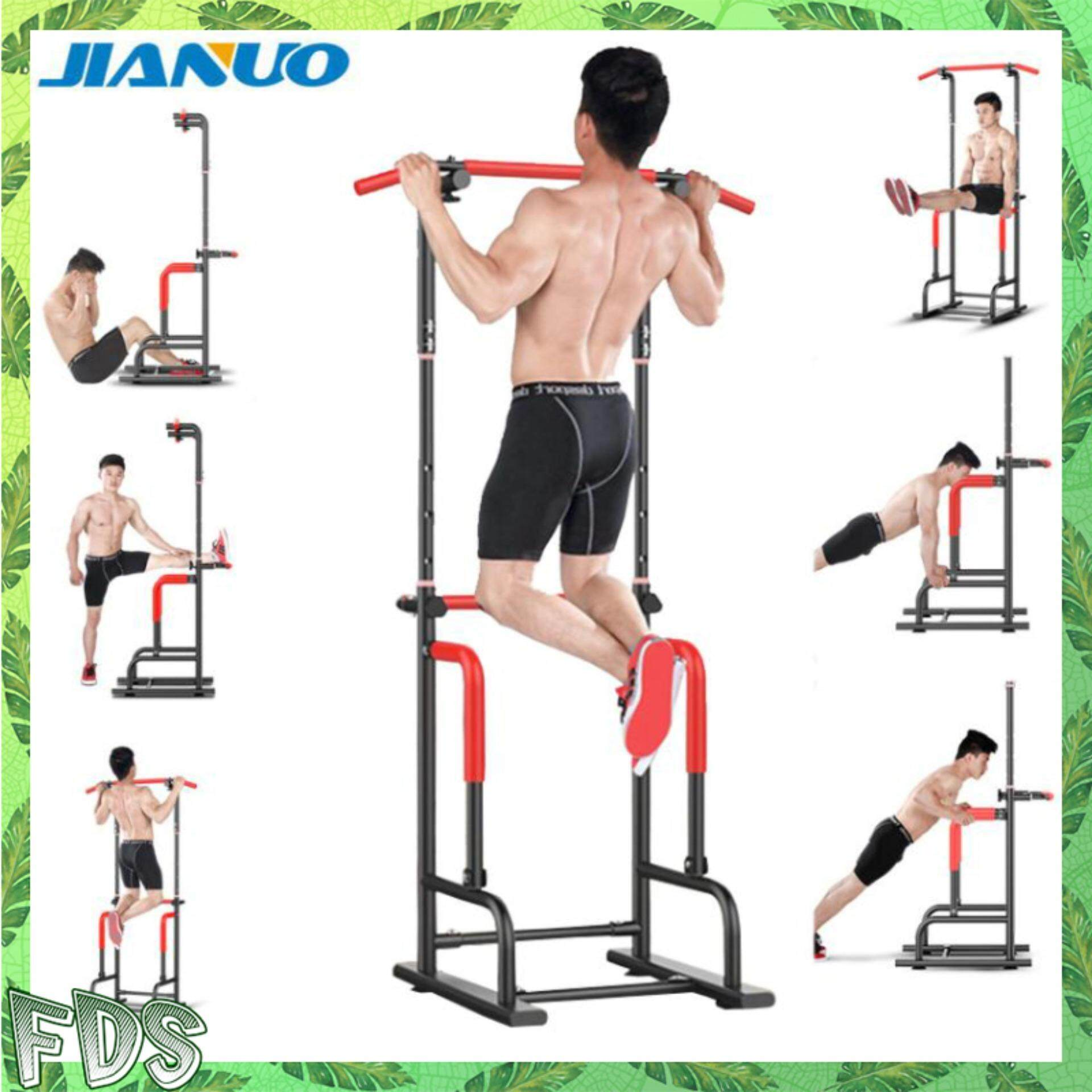 JIANUO JN-YT18 Home Gym Fitness Workout Dip Chin Up and Pull Up  Multi-Function Exercise Tower Station Equipment For Kids or Adults