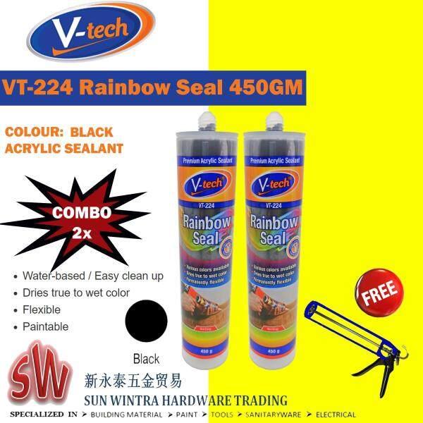 COMBO 2X V-tech 450GM RAINBOW SEAL SEALANT with Different Colour F.O.C Silicone Gun