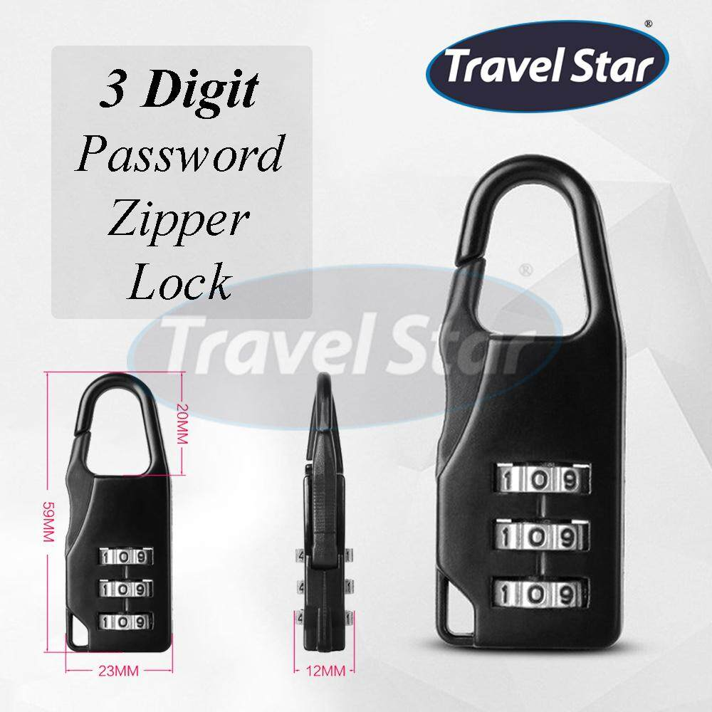 6b02fdd1a087 Travel Star Zipper Lock Classic Practical 3 Digit Password Combination  Password Lock Zinc Alloy Small Anti-theft Padlock for Backpack, Travel  Luggage, ...