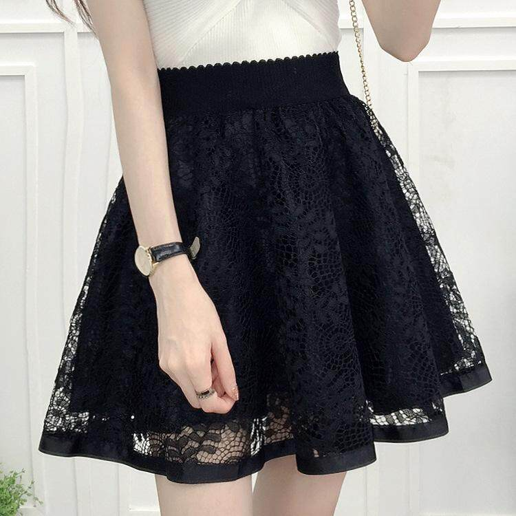 8588430237 Yta New Style Embroidery Lace Sweet Versatile Elastic Waist Anti-Exposure  Safety Shorts Skirt Double
