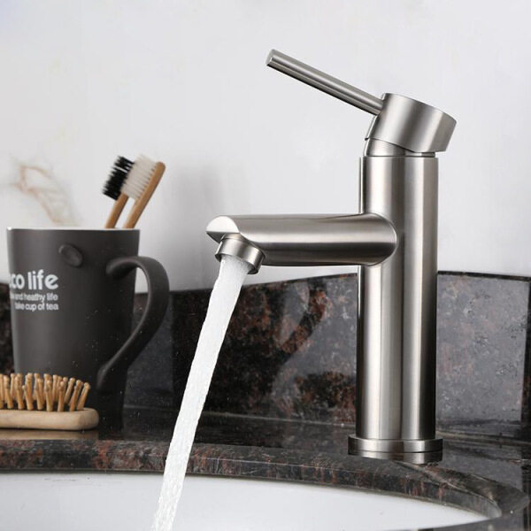 304 Stainless Steel Hand Wash Basin Faucet Toilet Single Handle Single Hole Brushed Hot and Cold Ceramic Basin Tap Bathroom Accessories