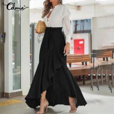Celmia Váy Xòe Mùa Hè Cho Nữ Đầm Quấn Xòe Xếp Nếp Eo Cao Đầm Maxi Dài Cộng