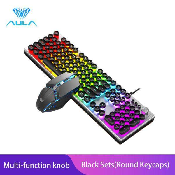 AULA T200 Gaming Keyboard And Gaming Mouse Combo Colorful Backlight With Multi-function Knob Singapore