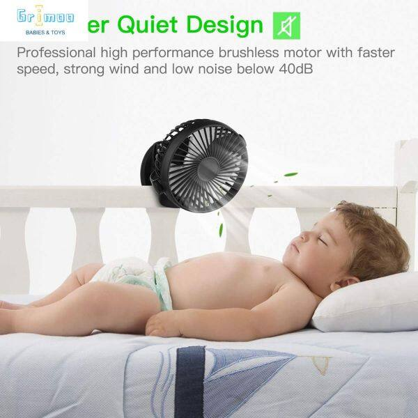 Grimoo Ready Stock Portable 3 Speed Clip-on Mini Rechargeable USB Battery Desk Fan Summer Small 360° Air Cooler Table-Top Car Office Home [COD] Singapore
