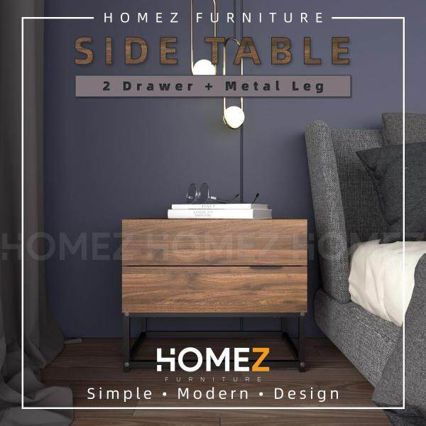 Homez 2ft Modernist Design Side Table With 2 Drawer Solid Board Side Table / Meja Sisi - HMZ-FN-ST-N0500-CN