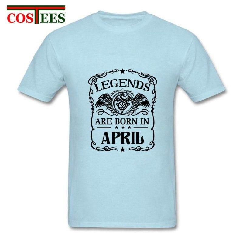 Jingteng 2018 Vestidos Musim Panas Legenda Lahir Pada Bulan April T Shirt Pria Hadiah Ulang Tahun Terbaik Keluarga Kaus Pesta Hombres Camiseta Kemeja Santai