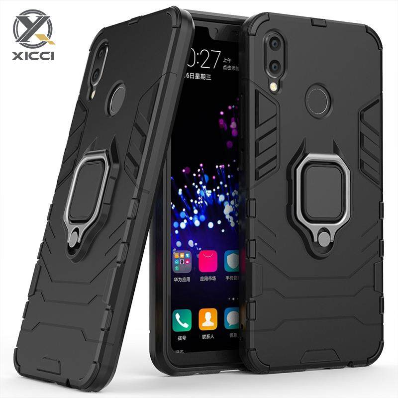 XICCI For Samsung A30 A20 Case, Silicone TPU and Hard PC Luxury Armor  Shockproof Metal Ring Holder Cover Phone Casing