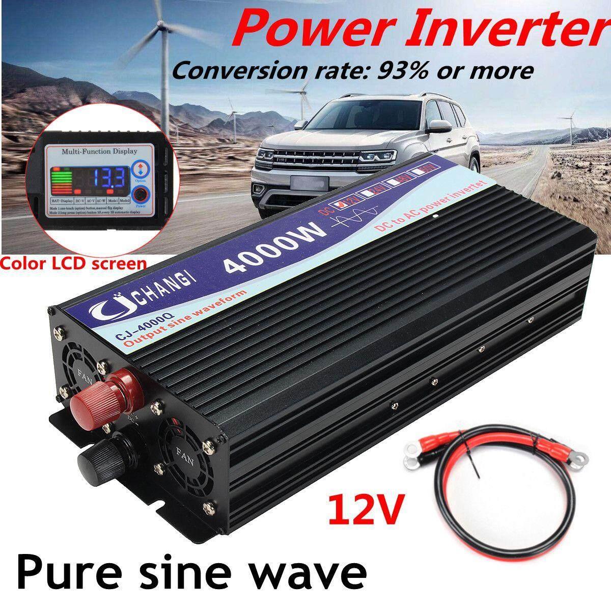 Inverter Tenaga Surya Portabel, Inverter Tenaga Surya 24V Ke AC 240V, 4000W, Adaptor Konverter Gelombang Sine Murni, Layar LCD, Konversi 93% untuk Panel Surya, CPU/Hibrid, Peralatan Rumah Tangga, 24V, 4000W