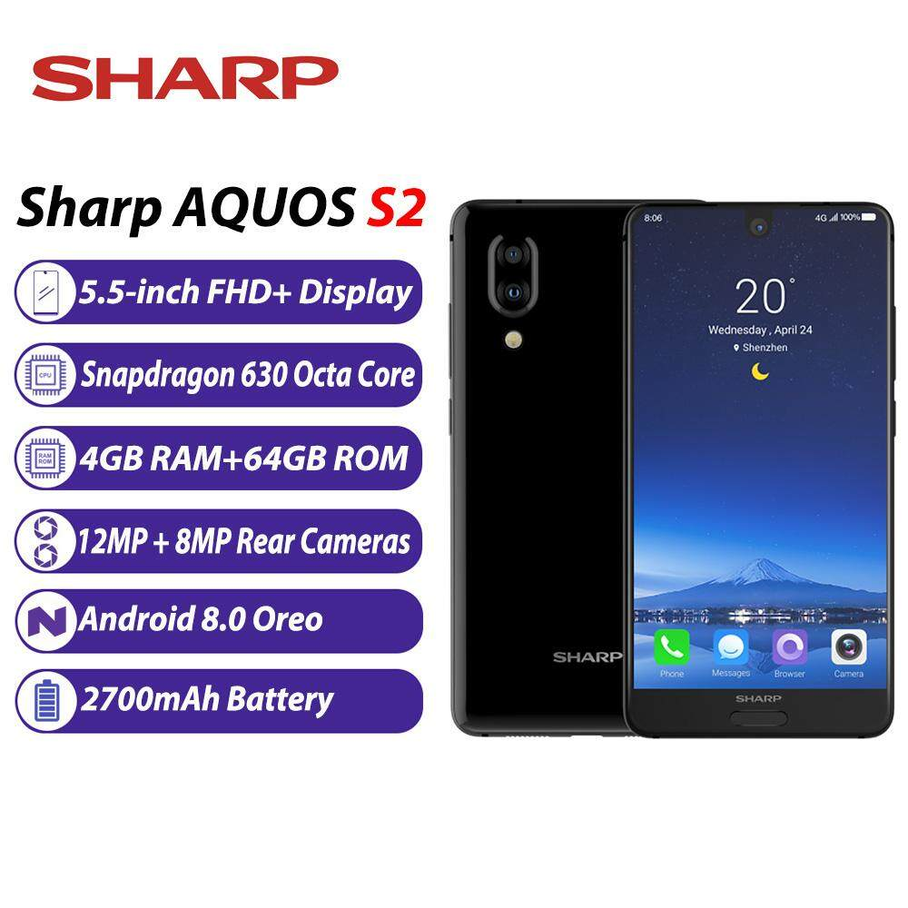 Global Version Sharp AQUOS S2 C10 Mobile Phone 4GB+64GB 5 5inch FHD+  Android8 0 Snapdragon 630 Octa Core 12MP+8MP Dual Rear Cameras NFC  Fingerprint