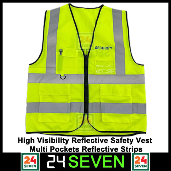 TWENTYFOURSEVEN - High Quality Reflective Safety Vest With Mesh Fabric And Reflective 4 Line Yellow