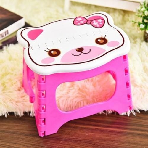 Creative Cartoon Plastic Childrens Stool Organizer Home Kitchen Out Picnic Portable Thick Folded Stool Childrenanti-Drop Wear