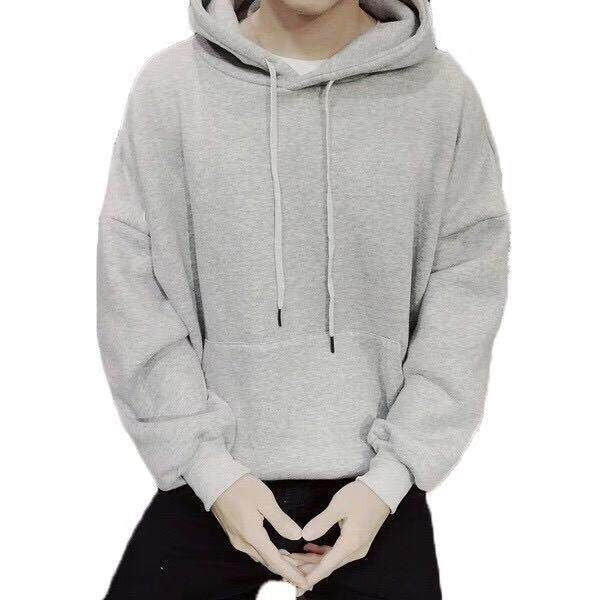 9eaf906a Men's Men Hoodies Simple Plain Top Wear Grey Black White