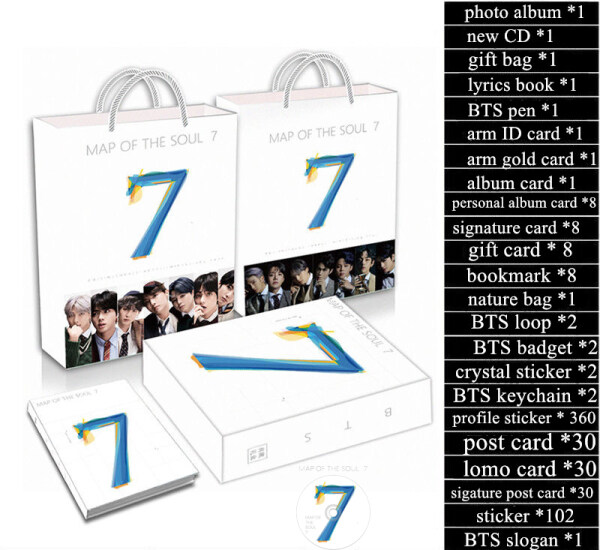 BTS Bangdan Album Map of The Soul 7 Luxury Gift Package Lomo Card Photo Keychain Stickers