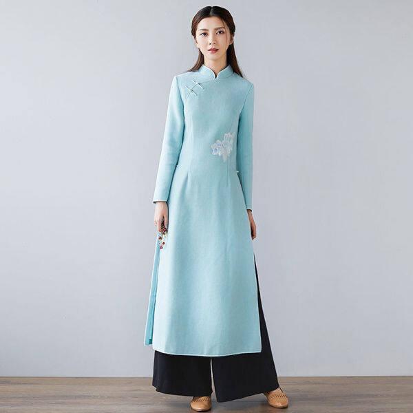 Hai Bộ Váy Tóc Thu Đông Trung Quốc Mỏng Vào Một Phiên Bản Cải Tiến Của Đầm Thiền Phong Cách Sườn Xám Của Phụ Nữ Phù Hợp Với