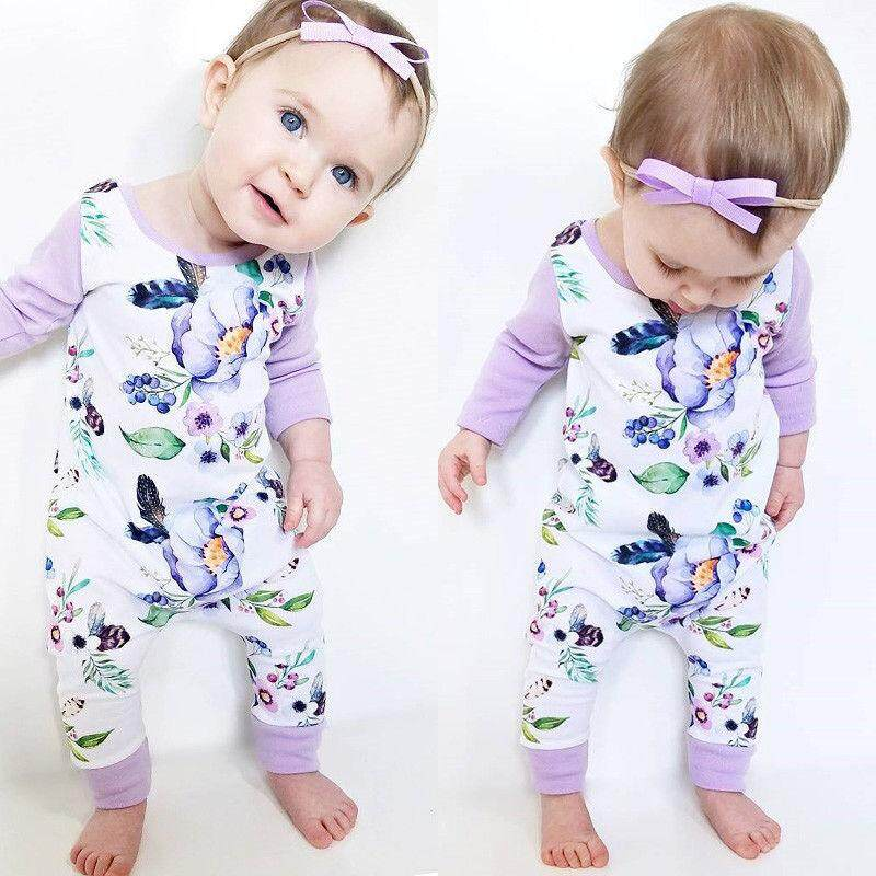 14f079b3ef30 Newborn Infant Baby Girls Kids Cotton Romper Jumpsuit Bodysuit Clothes  Outfit