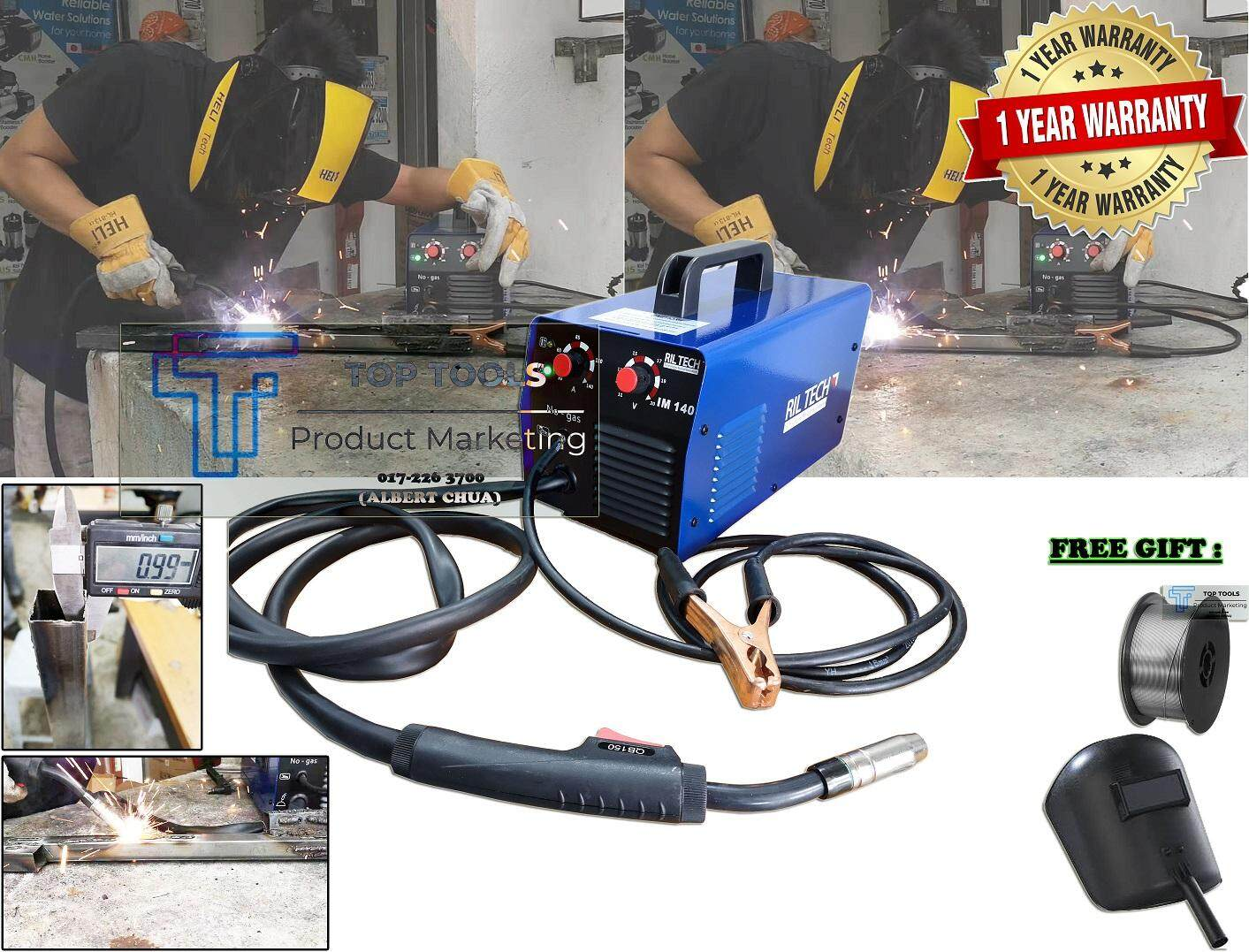 RILTECH Gasless Mig Welding Machine IM140 Free 1 Roll Gasless Wire (Sesuai Besi Lipis) (Holo 1mm)