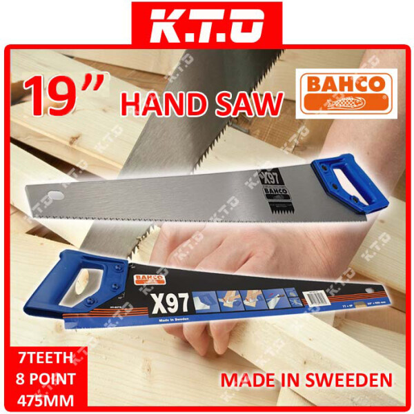 ORIGINAL BAHCO HAND SAW X97 22/ 19 550MM MADE IN SWEEDEN 7 TEETH 8 POINT UNIVERSAL IDEAL FOR TIMBER, PVC, PLASTIC, PLASTERBOARD / GERGAJI
