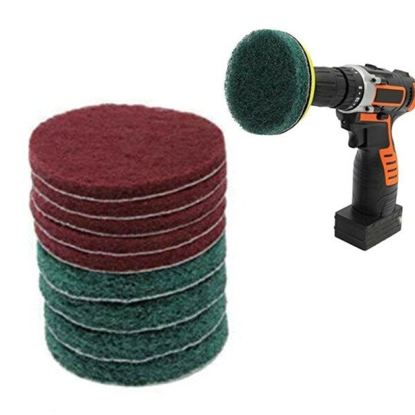 11pcs/set Sticky Disk Scouring Pads Drill Cleaning Brush Kit Scrub Cleaner Tool