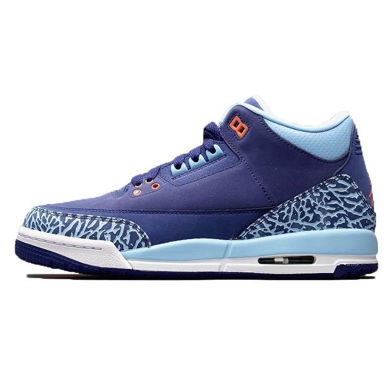 aeb23652fd0ef6 Original NKE Air Jorda 3 GS Blue Cap AJ3 Dark Purple Burst Crack Women  Basketball Shoes
