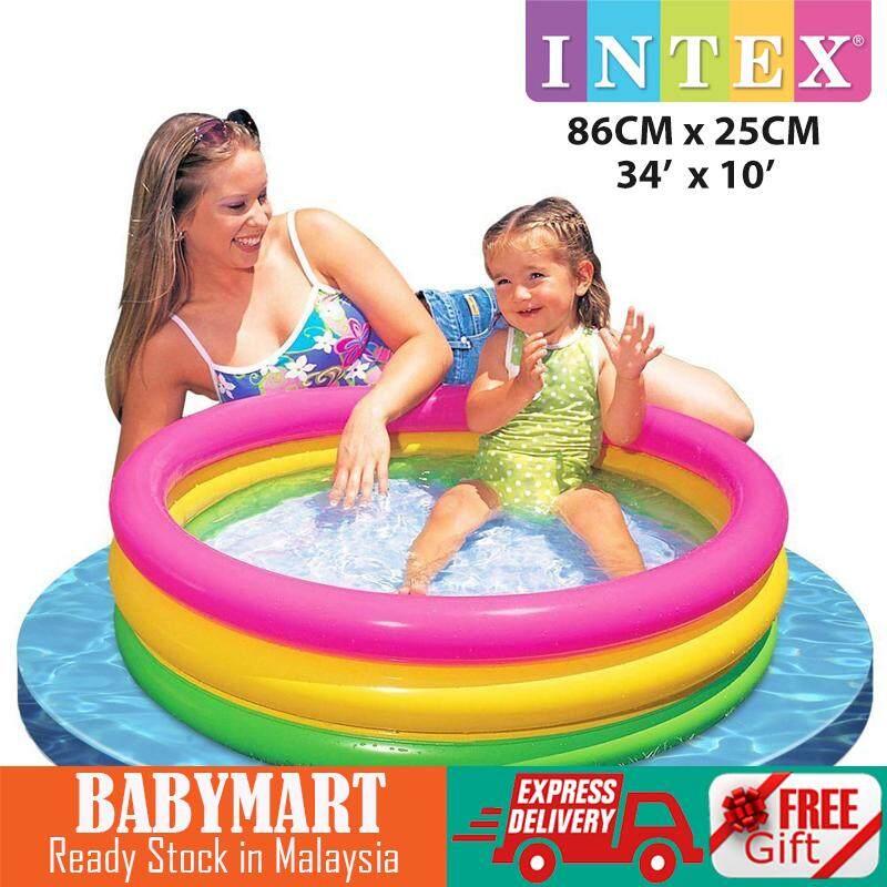 INTEX Inflatable 3 Ring Swimming Pool Playground Pool Summer Sunset Glow Baby Kids Children Play Pool Round Indoor / Outdoor Playground : BABYMART.MY