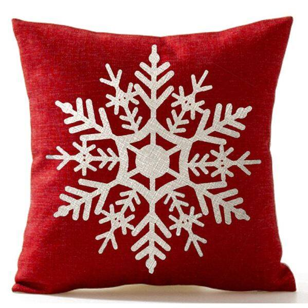 Bảng giá Beautiful Snowflake In Red Merry Christmas Gifts flax Throw Pillow Case Cushion Cover Home Office Living Room Sofa Car Decorative Square 18 X 18 inch:Beige + red Phong Vũ