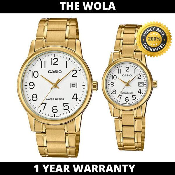Casio Couple Watch for Men and Women MTP/LTP-V002G-7B2 Stainless Steel Band Gold Watch  (watch for couple set / jam tangan wanita / couple Watch / women watch) Malaysia