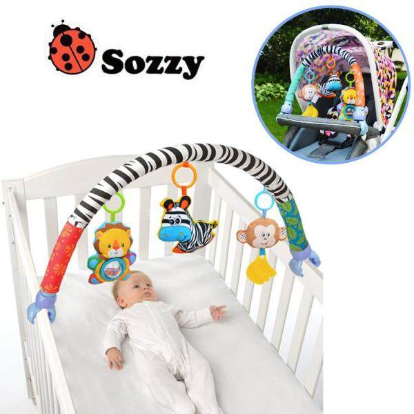 Baby Stroller Toy Crib Bed Toy - Funny Animal Activity Hanging Bell Rattle Toys Kids Toys Zebra Arch with Plush Toys Singapore