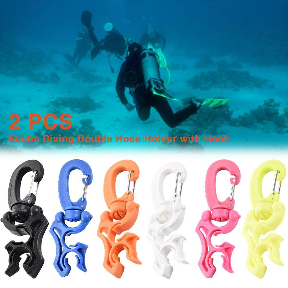 """3.9/"""" Scuba Diving Double BCD Hose Holder with Rotates /& Folding Clip Black"""