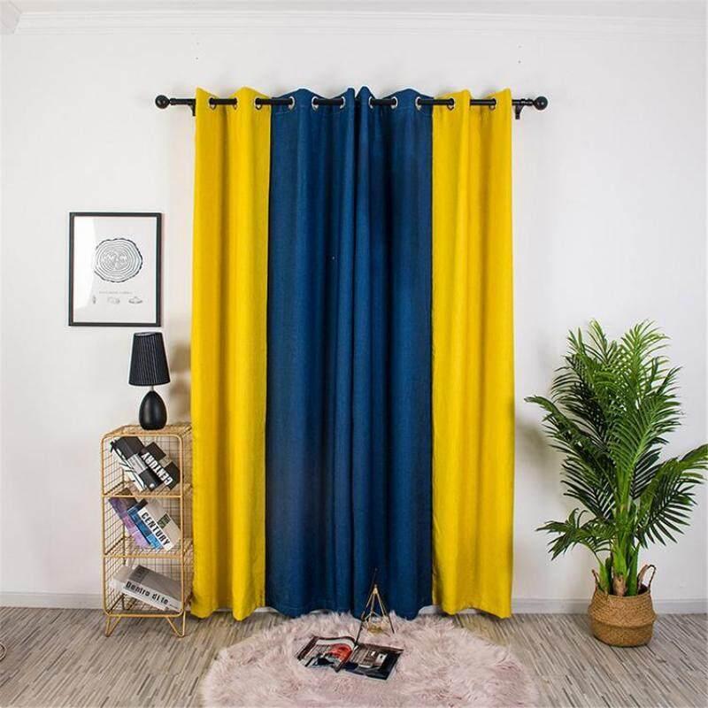 Quách Thời Trang Màn 2 Màu Vải Lanh Màn Cách Nhiệt Polyester Spliced Rèm Cửa Với Grommet Cho Phòng Khách Nhà Bếp Phòng Ngủ
