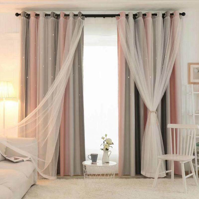 1PCS Double-Layer Curtain-Shade Cut Out Stars Panel And Gauze Valance
