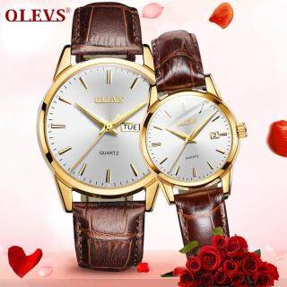 Đồng hồ đôi dành cho tình nhân thiết kế đơn giản sang trọng dây da cao cấp OLEVS chính hãng thumbnail